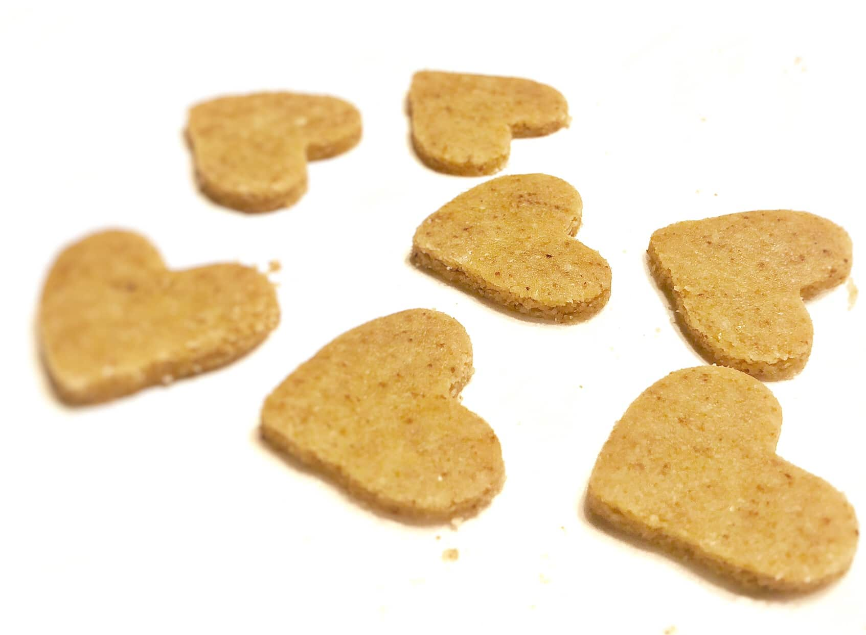 almond flour shortbread cookies in the shape of hearts