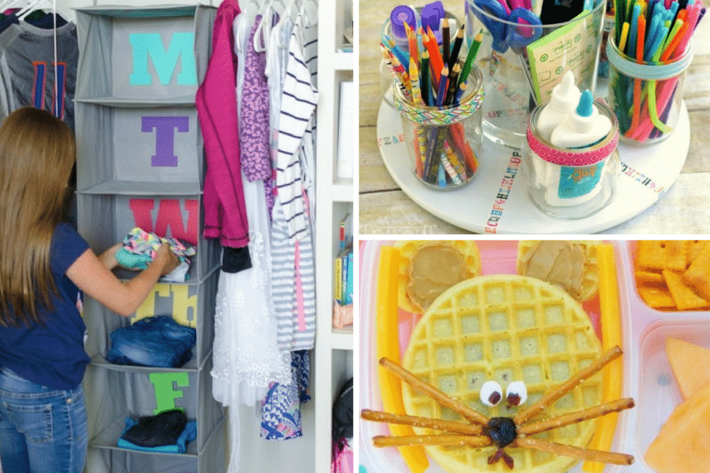 back to school organization, closet, bento boxes, homework turntable