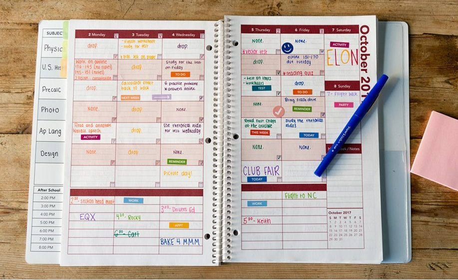 school planner for back to school organization