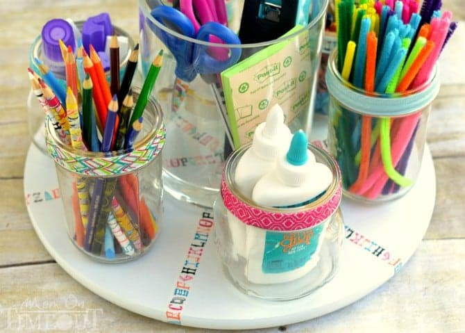 homework turntable supplies back to school organization