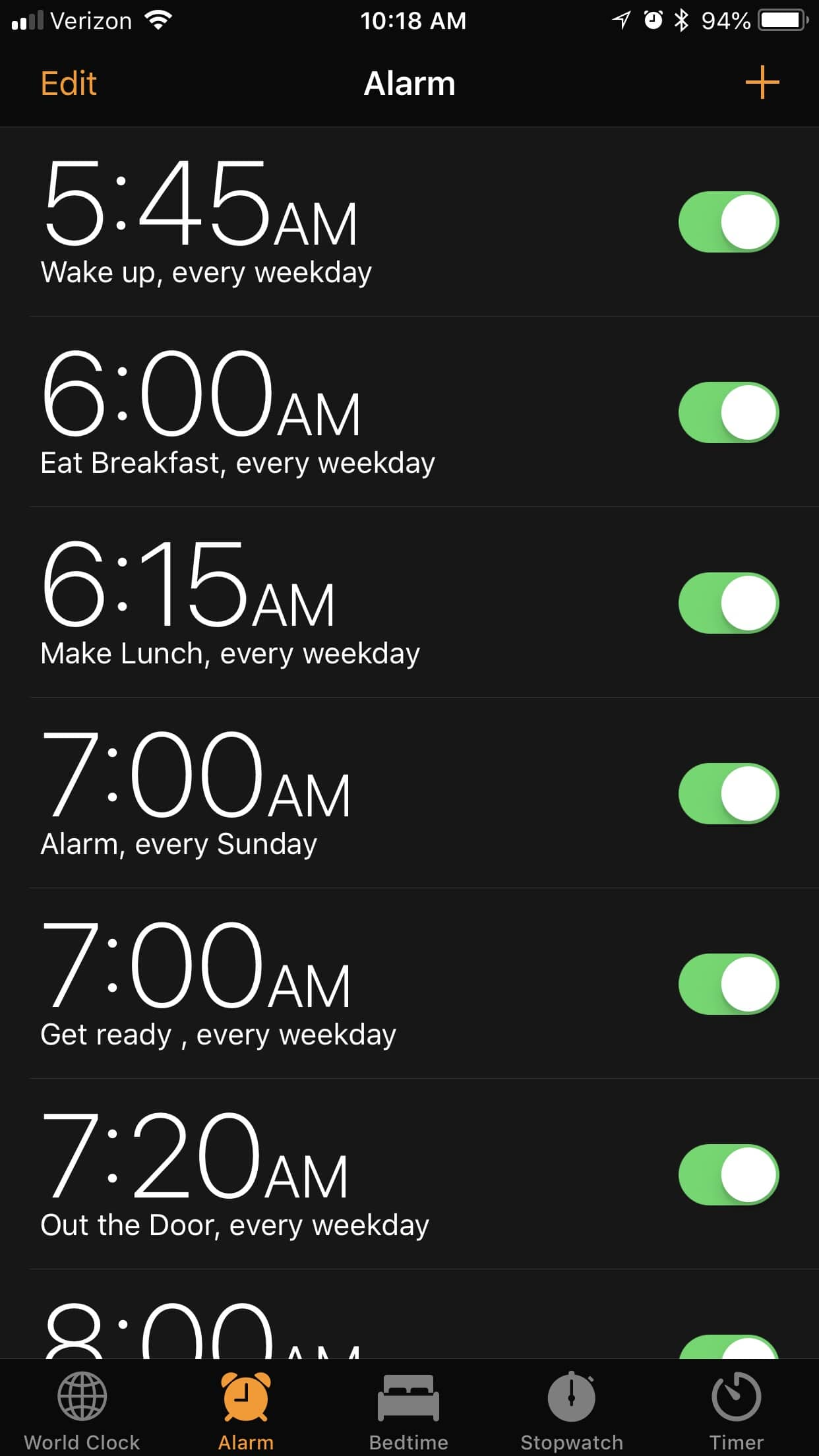 Alarms for back to school organization