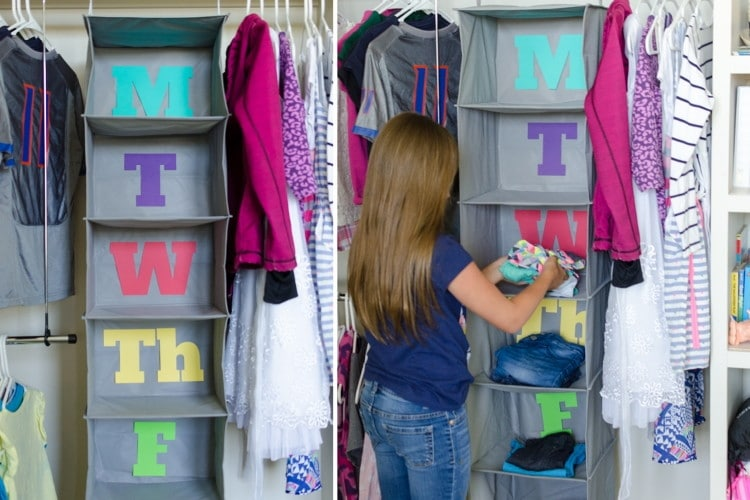 hanging closet organizer days of the week for back to school organization