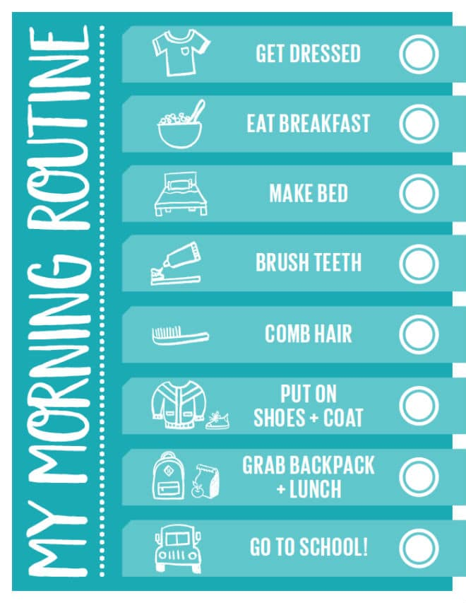 morning routine checklist for back to school organization