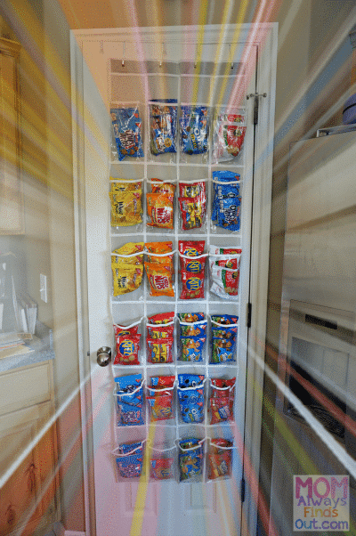 snack organizer back of the door for back to school organization