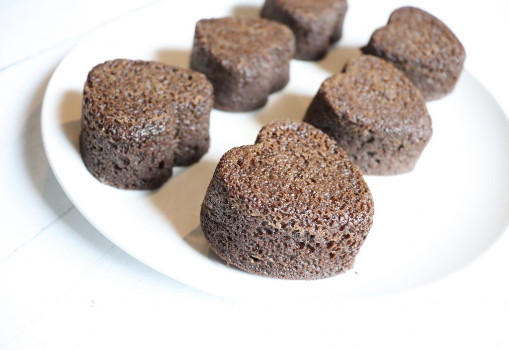 Keto Chocolate Flaxseed Muffins side shot on a white plate, muffin texture