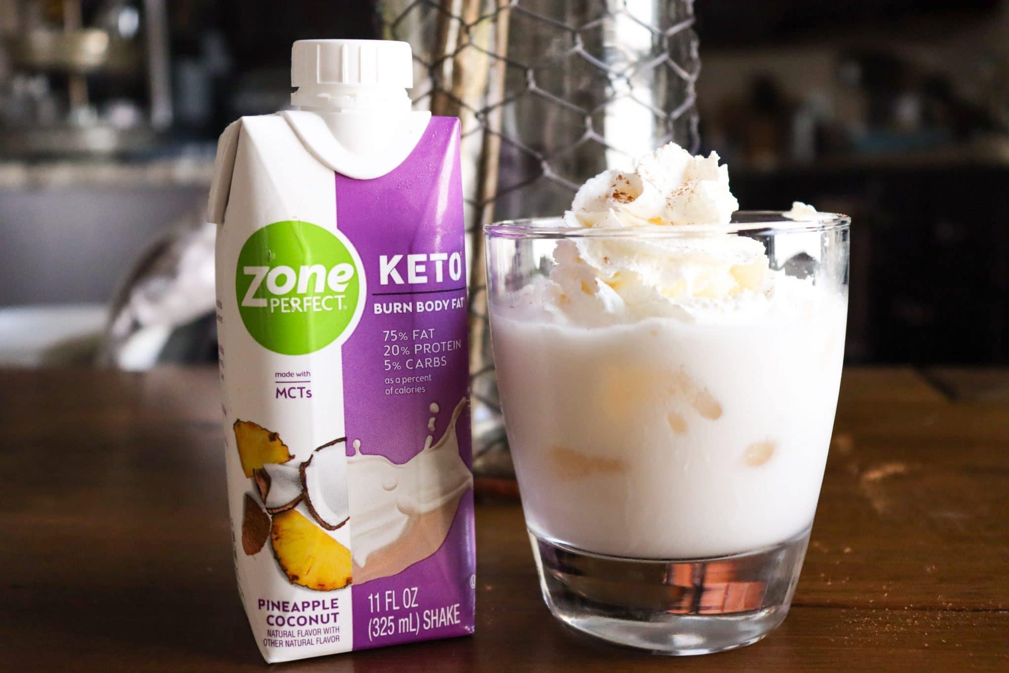ZonePerfect Keto Shakes glass with shake sugar free whipped cream