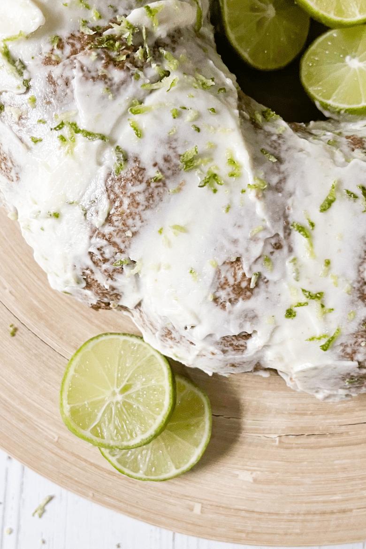 close up limes on keto key lime pound cake