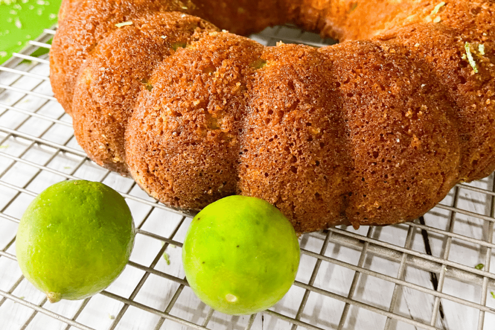 keto key lime pound cake unfrosted with limes