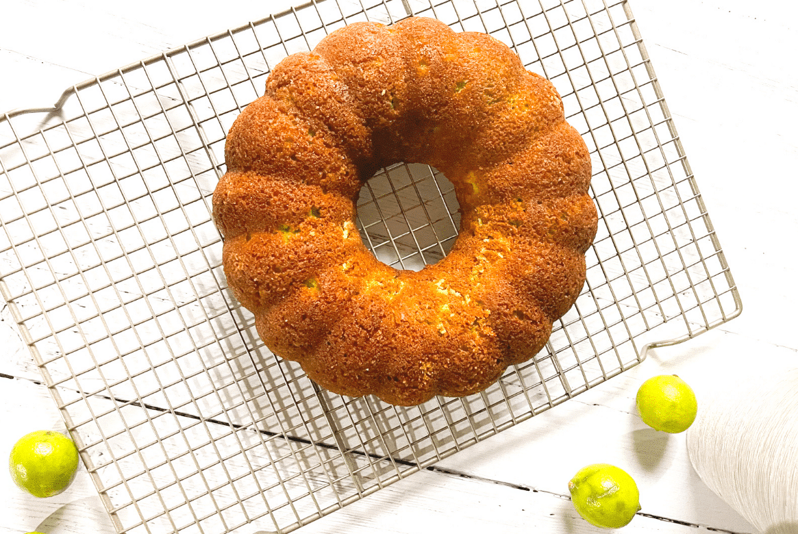 unfrosted keto key lime pound cake with limes