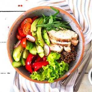 keto recipes avocado salad bell pepper chicken tomatos